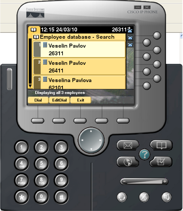 CDS IP phone interface results